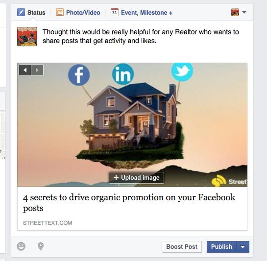 Screen shot of a Facebook post