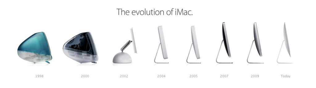 Photo showing the evolution of iMac technology since 1998 to today