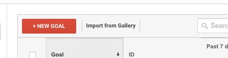 Google Analytics - New Goal Button
