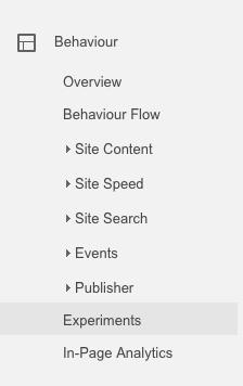 Google Analytics Experiments link