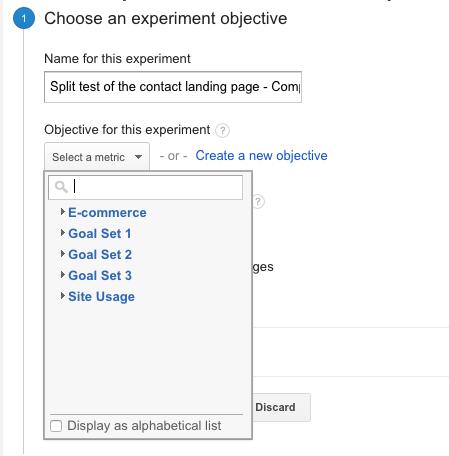 Content experiments - choose a goal
