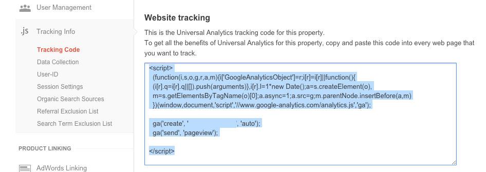 Google Analytics Website Tracking Screenshot