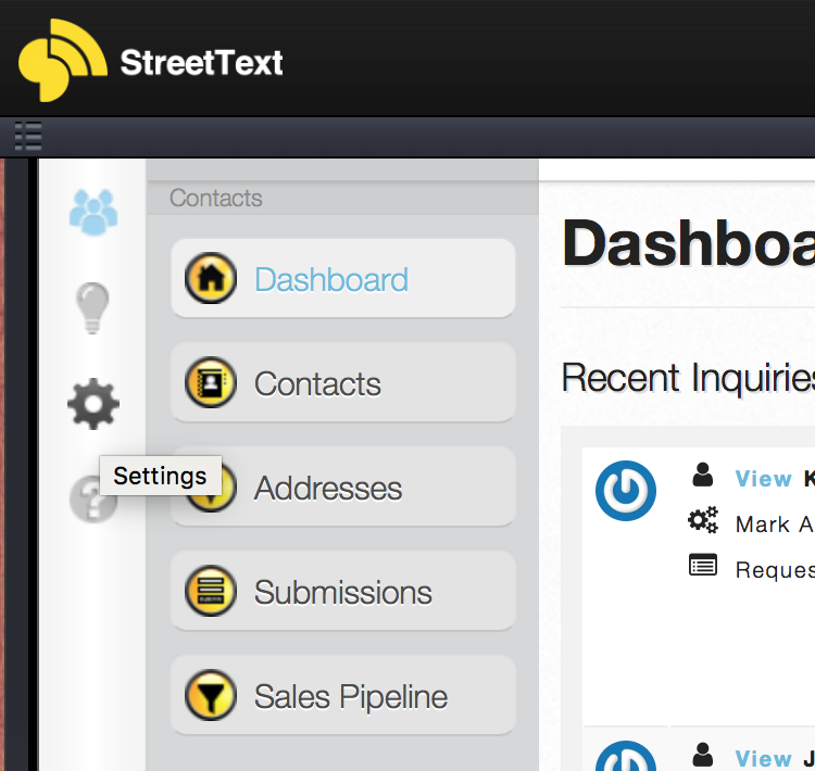 StreetText Settings cog icon