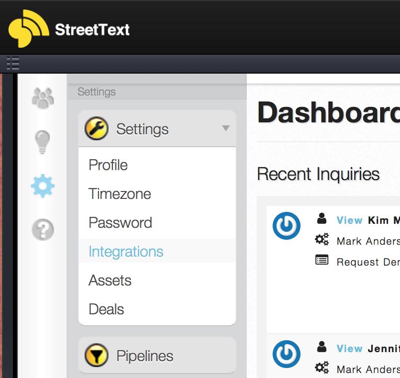 StreetText Integrations menu