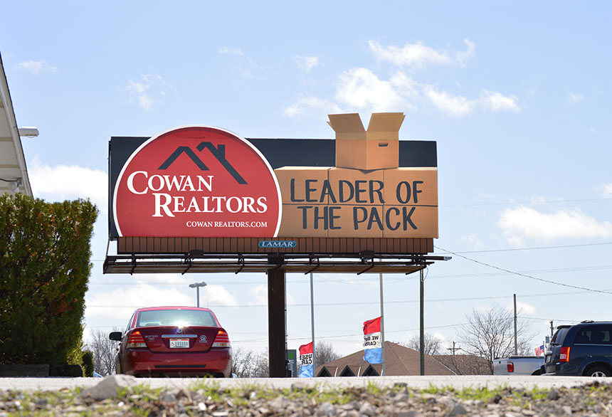 """Leader of the pack"" billboard could be improved if they instead shared the value their clients get when working with them."