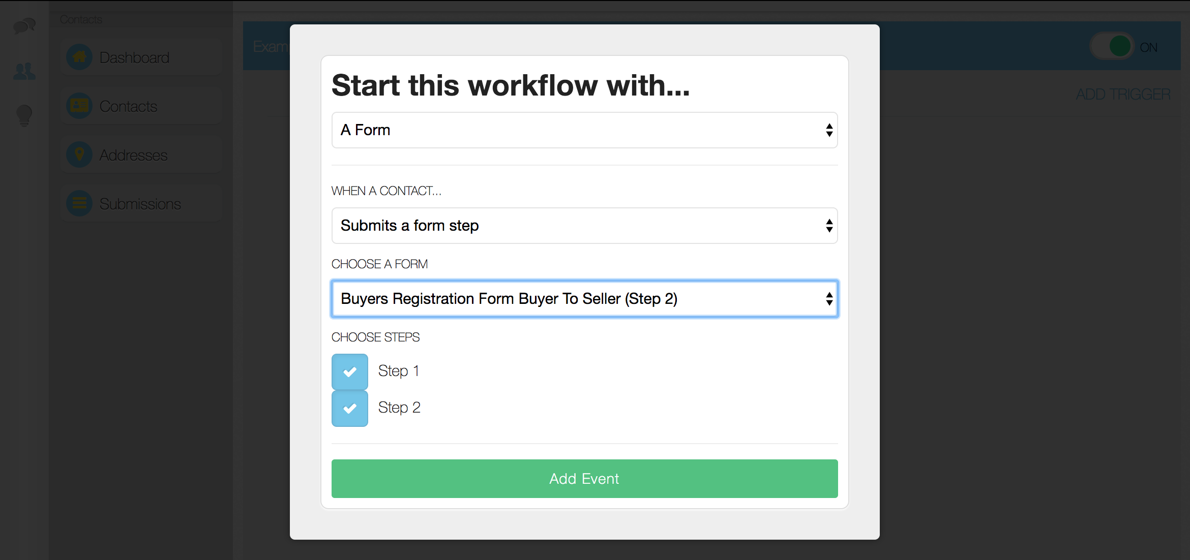 Pick your form's step for the workflow