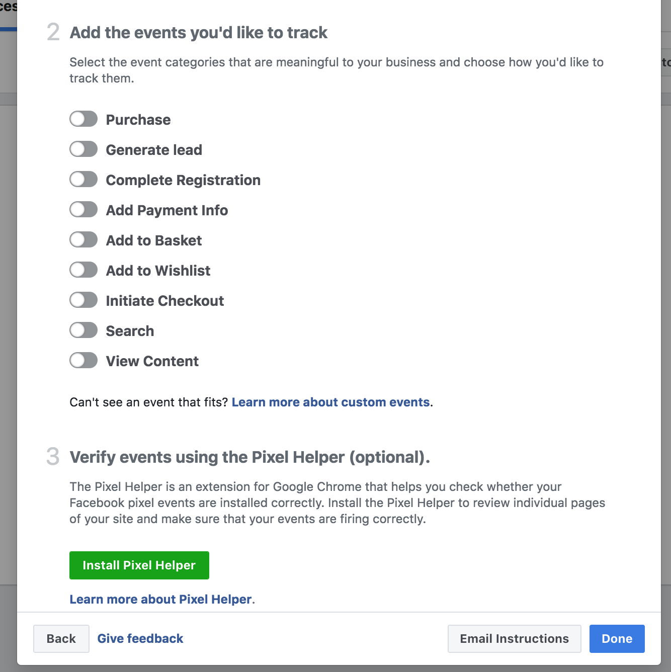 Add the events you want to track for Facebook pixel