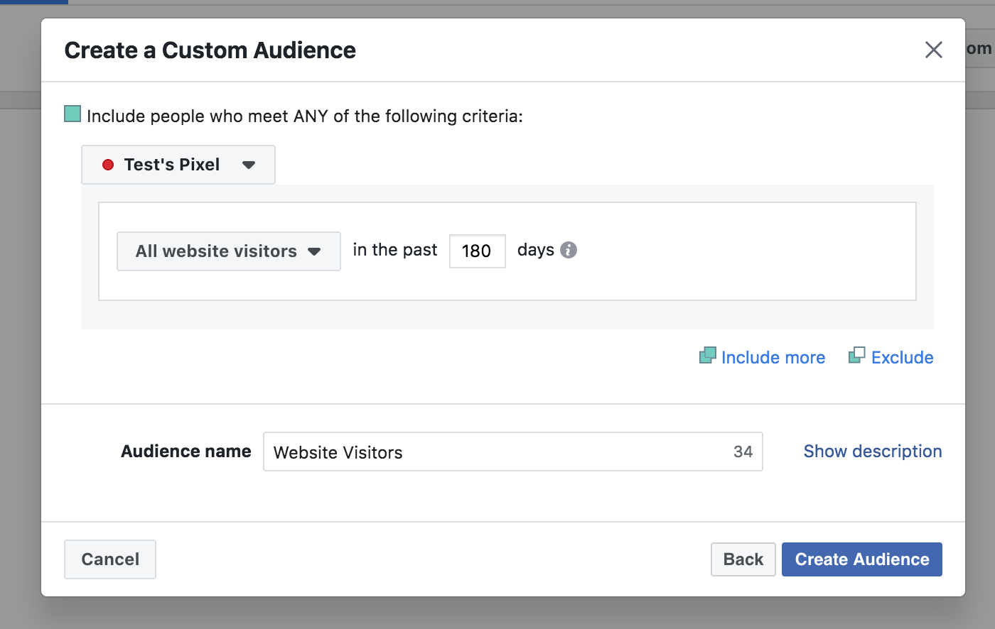 Create a Facebook audience settings