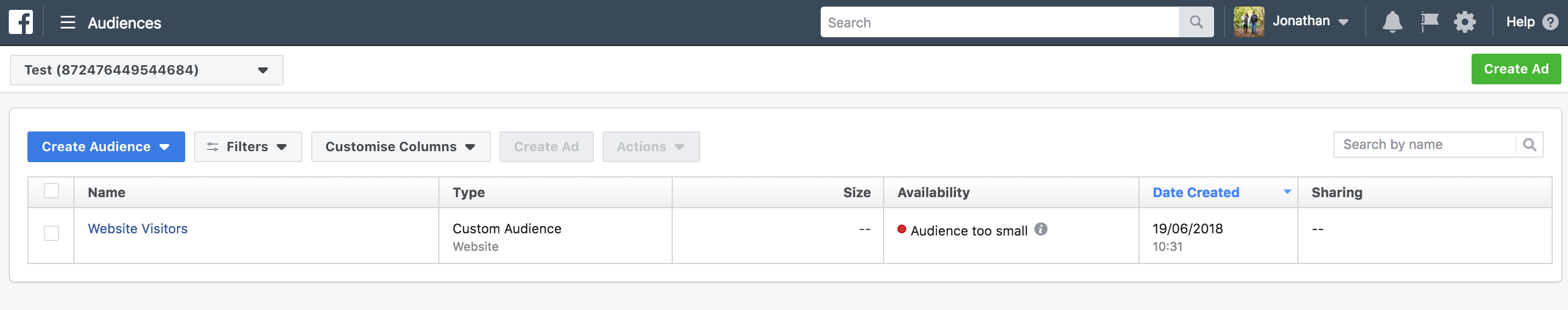 Manage Facebook ad audiences
