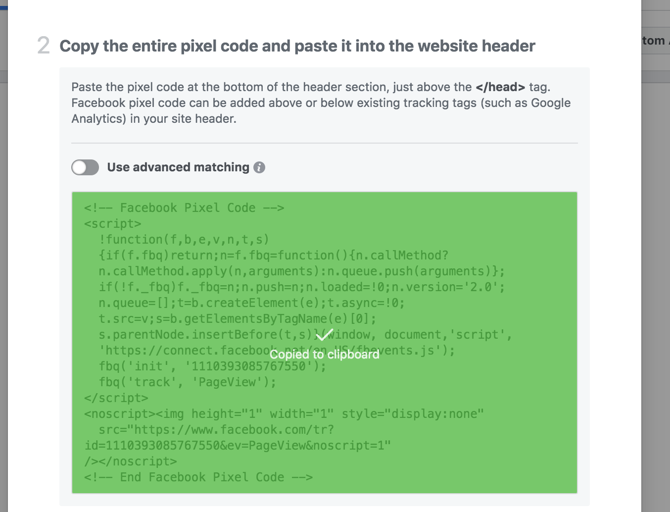 Copy the entire pixel code and paste it into the website header